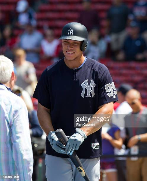 Aaron Judge of the New York Yankees stands behind the batting cage prior to a game against the Boston Red Sox at Fenway Park on July 15 2017 in...