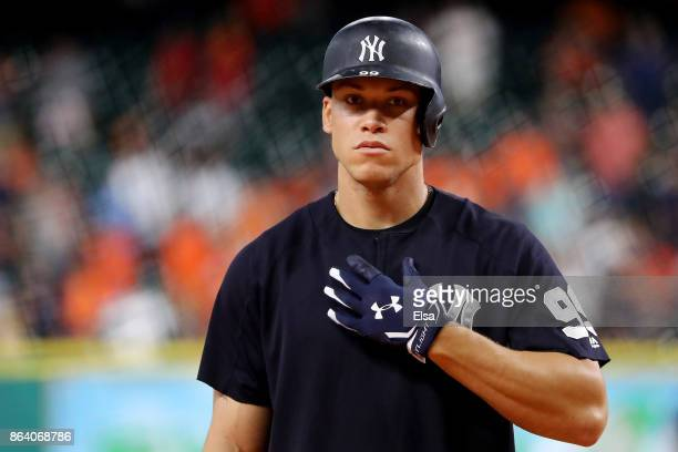 Aaron Judge of the New York Yankees takes batting practice prior to Game Six of the American League Championship Series against the Houston Astros at...
