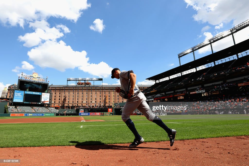 Aaron Judge #99 of the New York Yankees takes the field against the Baltimore Orioles in the first inning at Oriole Park at Camden Yards on September 7, 2017 in Baltimore, Maryland.