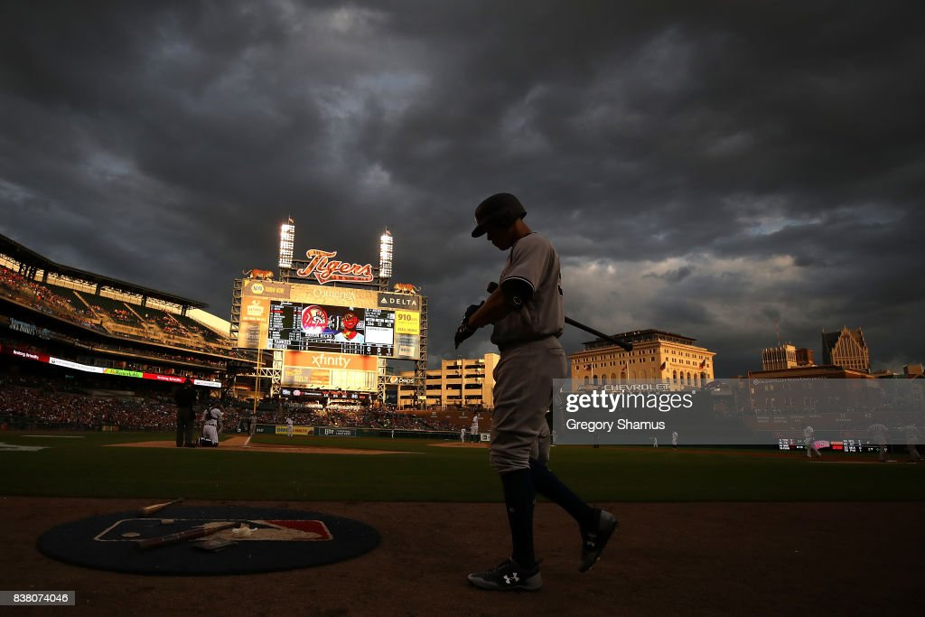 Aaron Judge #99 of the New York Yankees walks to the on deck circle in the third inning while playing the Detroit Tigers at Comerica Park on August 23, 2017 in Detroit, Michigan.