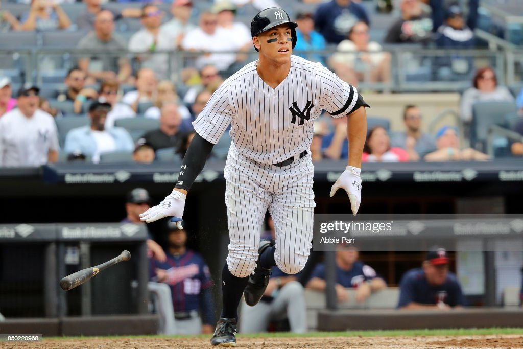 Aaron Judge #99 of the New York Yankees watches his two run home run against the Minnesota Twins in the third inning on September 20, 2017 at Yankee Stadium in the Bronx borough of New York City.