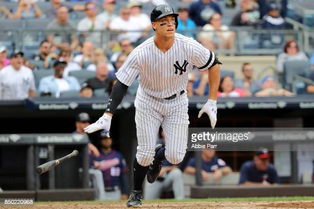 Aaron Judge of the New York Yankees watches his two run home run against the Minnesota Twins in the third inning on September 20 2017 at Yankee...