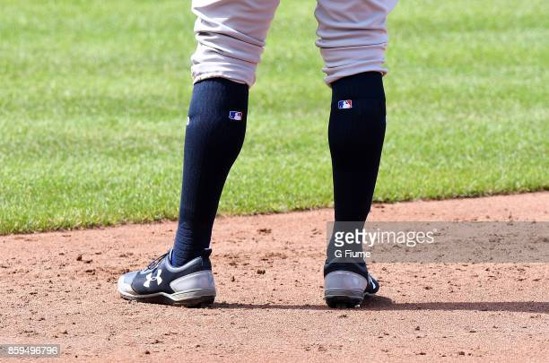 Aaron Judge of the New York Yankees wears Under Armour shoes during the game against the Baltimore Orioles at Oriole Park at Camden Yards on...