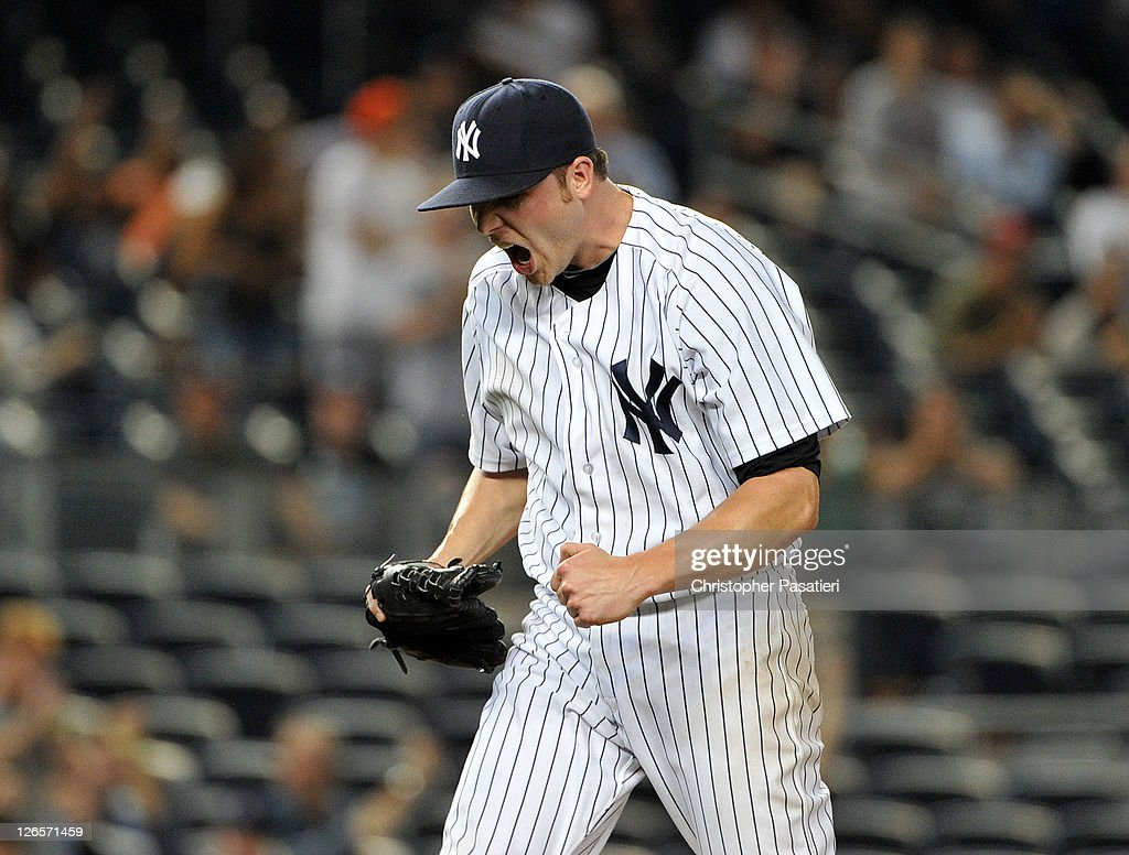 <a gi-track='captionPersonalityLinkClicked' href=/galleries/search?phrase=Aaron+Laffey&family=editorial&specificpeople=4175149 ng-click='$event.stopPropagation()'>Aaron Laffey</a> #22 of the New York Yankees reacts after striking out Lars Anderson #62 of the Boston Red Sox (not pictured) to end the top of the 13th inning against the Boston Red Sox on September 25, 2011 at Yankee Stadium in the Bronx borough of New York City.