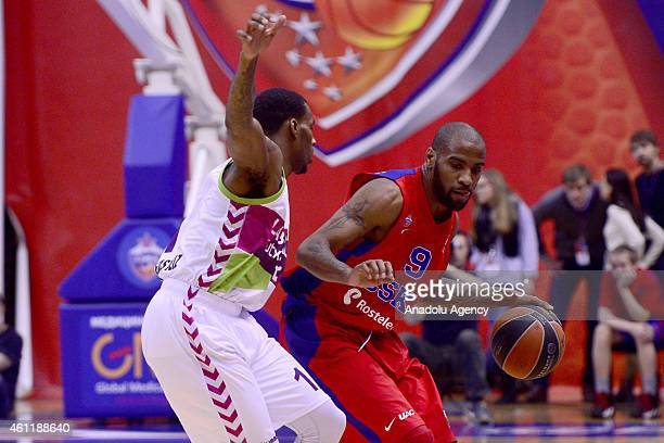 Aaron Lee Jackson of CSKA Moscow in action against his rival during their Euroleague Top16 group F basketball match in Moscow on January 8 2015