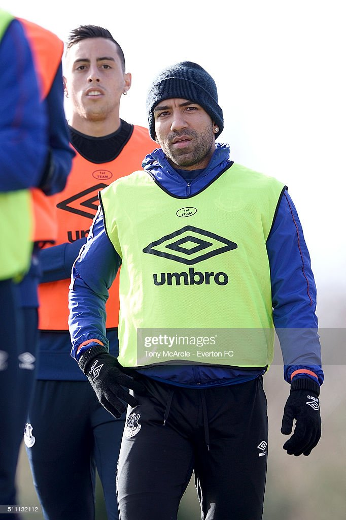 Aaron Lennon during the Everton training session at Finch Farm on February 18, 2016 in Halewood, England.