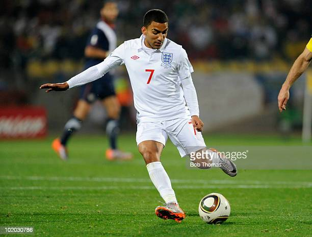 Aaron Lennon of England during the 2010 FIFA World Cup South Africa Group C match between England and USA at the Royal Bafokeng Stadium on June 12...
