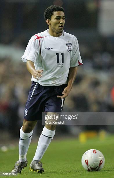 Aaron Lennon of England during the European U21 Championship Qualiying match between England U21 and Austria U21 at Elland Road on 7 October 2005...