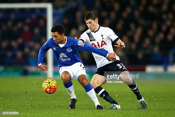 Aaron Lennon of Everton battles for the ball with Ben Davies of Tottenham Hotspur during the Barclays Premier League match between Everton and...