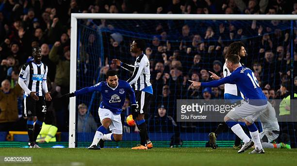 Aaron Lennon of Everton celebrates after scoring the opening goal during the Barclays Premier League match between Everton and Newcastle United at...