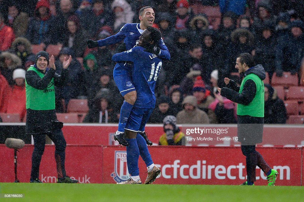 Aaron Lennon of Everton celebrates his goal with Romelu Lukaku during the Barclays Premier League match between Stoke City v Everton at the Britannia Stadium on February 6, 2016 in Stoke on Trent, England.