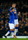 Aaron Lennon of Everton celebrates with teammate Ross Barkley after scoring the opening goal during the Barclays Premier League match between Everton...