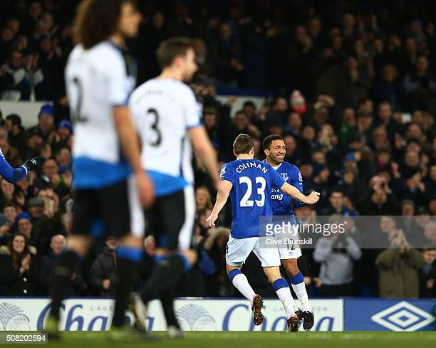 Aaron Lennon of Everton celebrates with teammate Seamus Coleman of Everton after scoring the opening goal during the Barclays Premier League match...