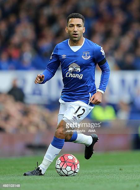 Aaron Lennon of Everton during the Barclays Premier League match between Everton and Manchester United at Goodison Park on October 17 2015 in...