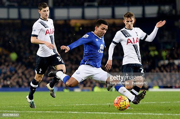 Aaron Lennon of Everton during the Barclays Premier League match between Everton and Tottenham Hotspur at Goodison Park on January 03 2016 in...