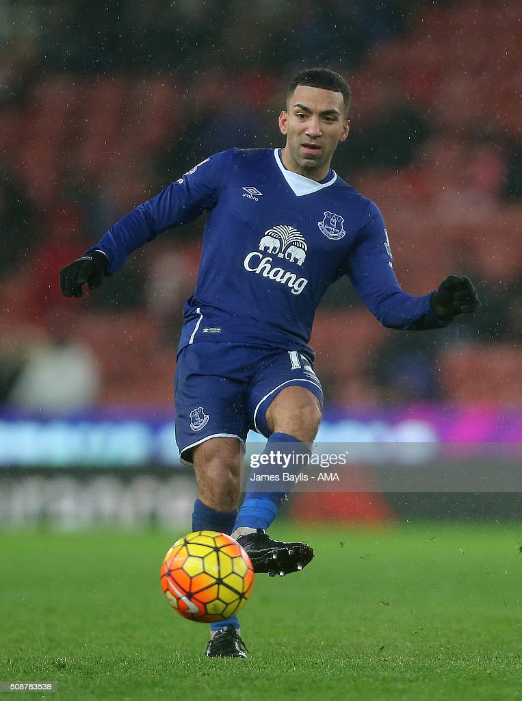 Aaron Lennon of Everton during the Barclays Premier League match between Stoke City and Everton at the Britannia Stadium on February 06, 2016 in Stoke-on-Trent, England.