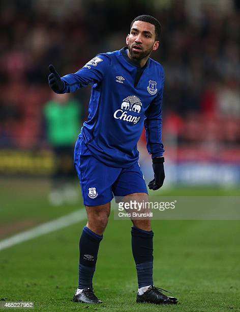 Aaron Lennon of Everton gestures during the Barclays Premier League match between Stoke City and Everton at Britannia Stadium on March 4 2015 in...