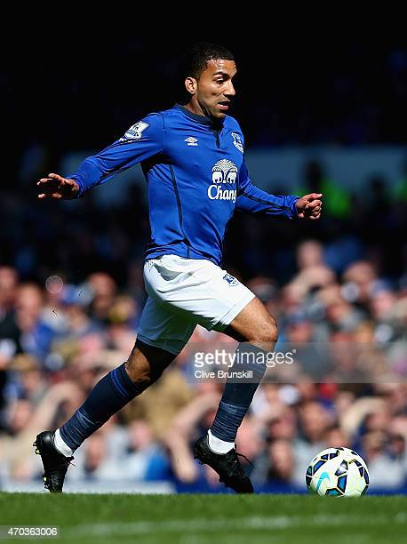Aaron Lennon of Everton in action during the Barclays Premier League match between Everton and Burnley at Goodison Park on April 18 2015 in Liverpool...