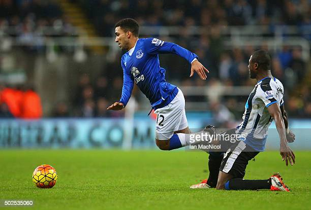 Aaron Lennon of Everton is tripped by Chancel Mbemba of Newcastle United during the Barclays Premier League match between Newcastle United and...