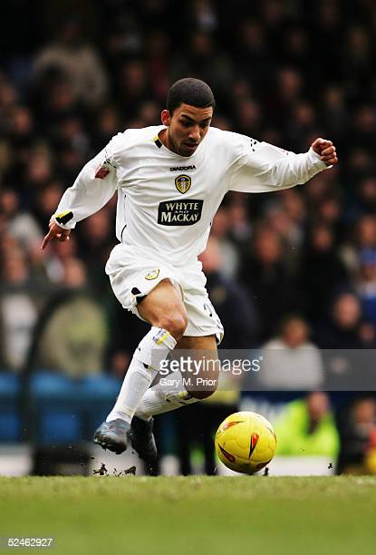 Aaron Lennon of Leeds United in action during the CocaCola Championship match between Leeds United and West Ham United at Elland Road on February 26...