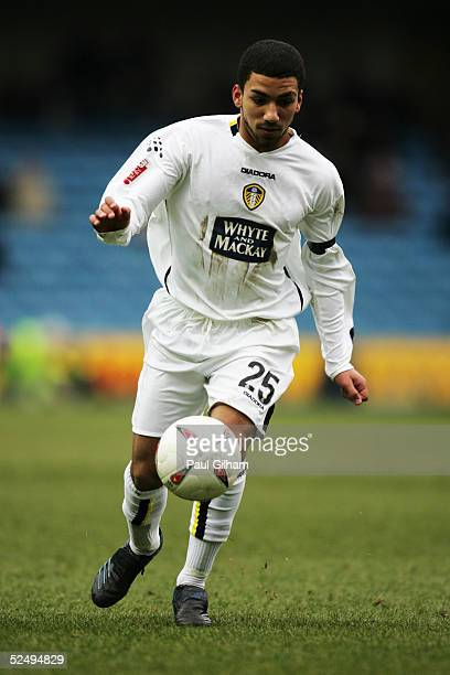 Aaron Lennon of Leeds United in action during the CocaCola Championship match between Millwall and Leeds United at The New Den on March 6 2005 in...