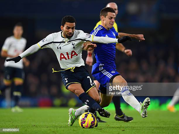Aaron Lennon of Spurs and Cesar Azpilicueta of Chelsea fight for the ball during the Barclays Premier League match between Chelsea and Tottenham...