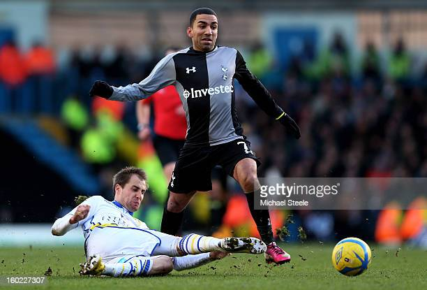 Aaron Lennon of Spurs is tackled by Luke Varney of Leeds during the FA Cup with Budweiser Fourth Round match between Leeds United and Tottenham...