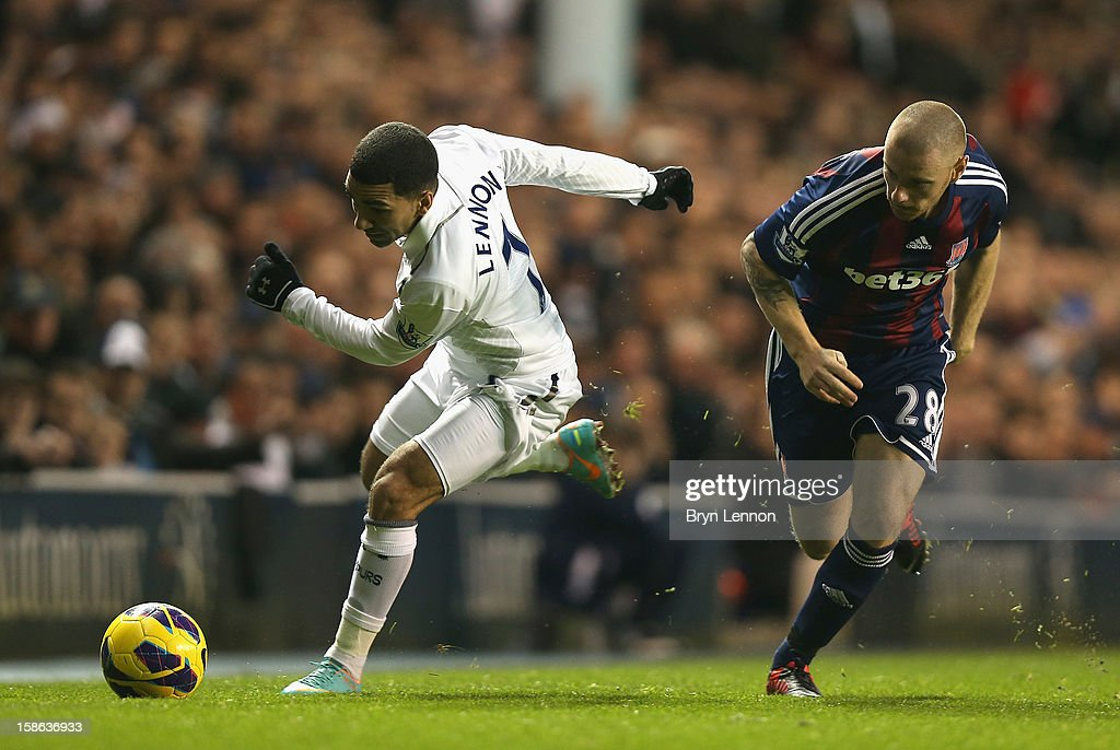 Aaron Lennon of Tottenham Hotspur and Andy Wilkinson of Stoke City tussle for the ball during the Barclays Premier League match between Tottenham Hotspur and Stoke City at White Hart Lane on December 22, 2012 in London, England.