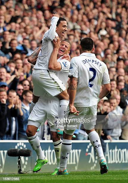 Aaron Lennon of Tottenham Hotspur celebrates scoring their second goal with Kyle Walker of Tottenham Hotspur and Clint Dempsey of Tottenham Hotspur...