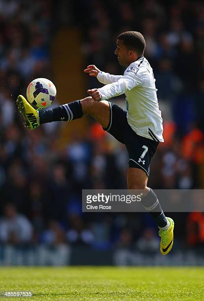 Aaron Lennon of Tottenham Hotspur controls the ball during the Barclays Premier League match between Tottenham Hotspur and Fulham at White Hart Lane...