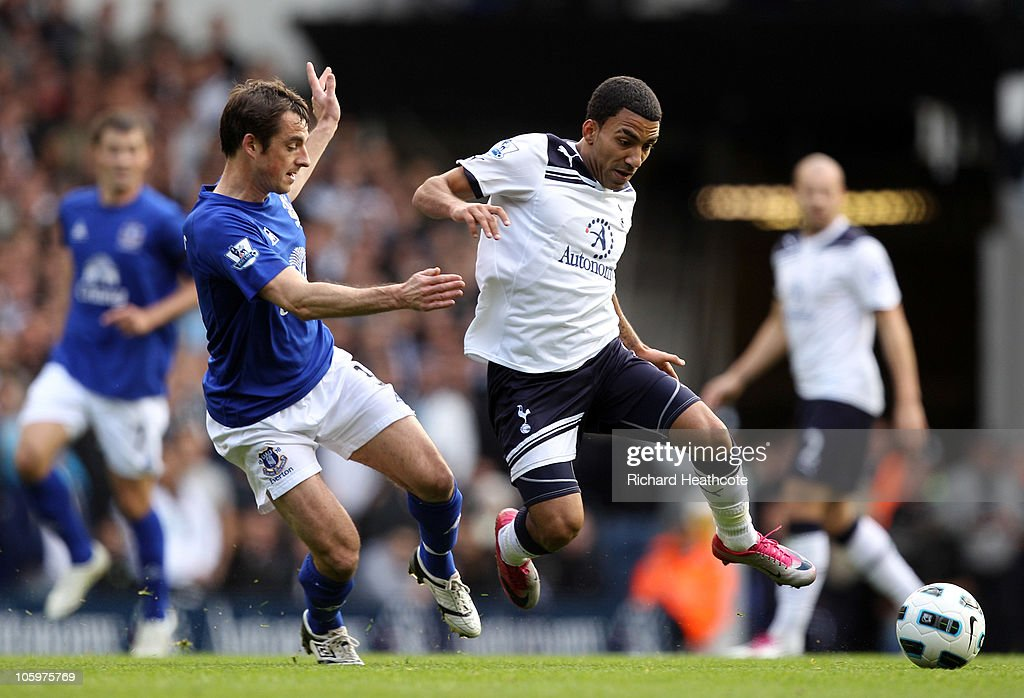 <a gi-track='captionPersonalityLinkClicked' href=/galleries/search?phrase=Aaron+Lennon&family=editorial&specificpeople=453309 ng-click='$event.stopPropagation()'>Aaron Lennon</a> of Tottenham rides a tackle from <a gi-track='captionPersonalityLinkClicked' href=/galleries/search?phrase=Leighton+Baines&family=editorial&specificpeople=682452 ng-click='$event.stopPropagation()'>Leighton Baines</a> of Everton during the Barclays Premier League match between Tottenham Hotspur and Everton at White Hart Lane on October 23, 2010 in London, England.