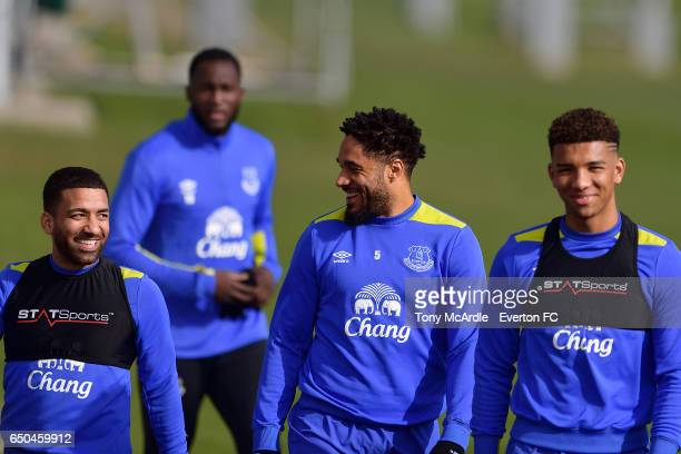 Aaron Lennon Romelu Lukaku Ashley Williams and Mason Holgate during the Everton FC training session at USM Finch Farm on March 9 2017 in Halewood...
