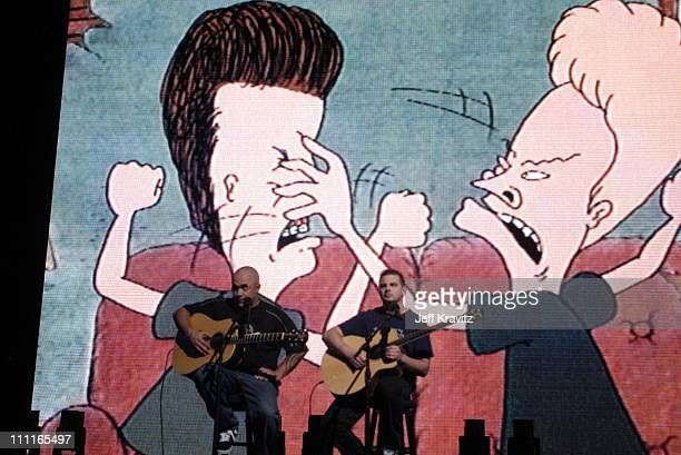 Aaron Lewis and Mike Mushok of Stain'd with Beavis and Butthead