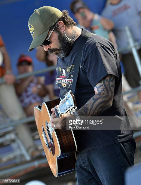 Aaron Lewis visits with his fans out in their campsite at Country Thunder Arizona 2013 Day 4 on April 14 2013 in Florence Arizona