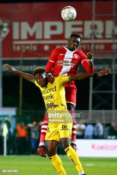 Aaron Leya Iseka forward of SV Zulte Waregem and Dylan Batubinsika defender of Antwerp FC pictured during the Jupiler Pro League match between Royal...
