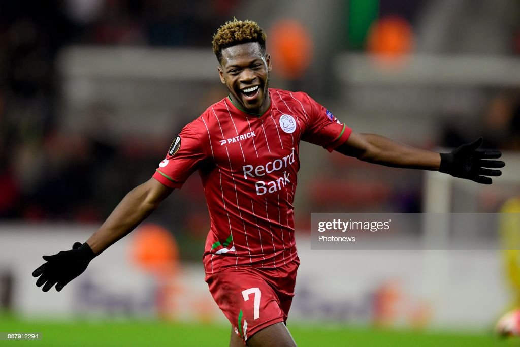 Aaron Leya Iseka forward of SV Zulte Waregem celebrates scoring a goal during the UEFA Europa League group K stage match between SV Zulte Waregem and SS Lazio Roma in the Regenboog stadium on December 07, 2017 in Waregem, Belgium, 7/12/2017