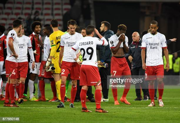 Aaron Leya Iseka forward of SV Zulte Waregem disappointed after loosing the game during the UEFA Europa League Group K stage match between SV Zulte...