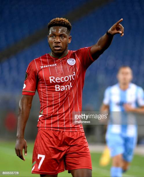 Aaron Leya Iseka forward of SV Zulte Waregem during the UEFA Europa League Group K stage match between SS Lazio and SV Zulte Waregem at Olympic...