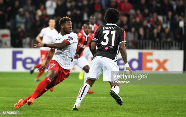 Aaron Leya Iseka forward of SV Zulte Waregem during the UEFA Europa League Group K stage match between SV Zulte Waregem and OGC Nice at the Allianz...