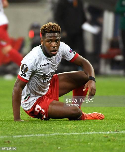 Aaron Leya Iseka forward of SV Zulte Waregem looks dejected during the UEFA Europa League Group K stage match between SV Zulte Waregem and OGC Nice...