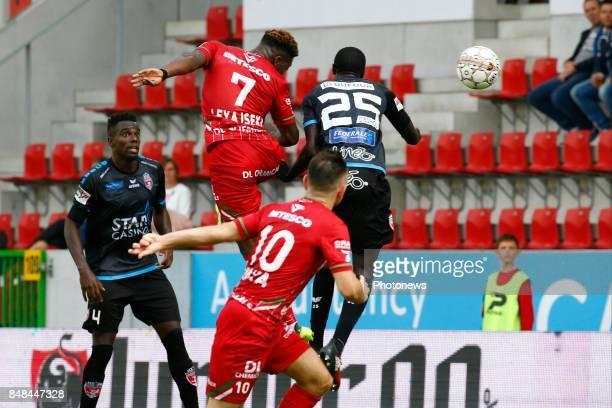 Aaron Leya Iseka forward of SV Zulte Waregem pictured during the Jupiler Pro League match between Zulte Waregem and Excelsior Mouscron at Regenboog...