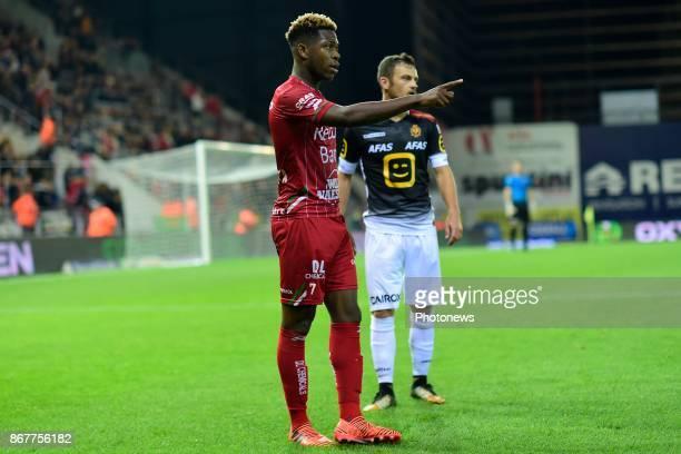 Aaron Leya Iseka forward of SV Zulte Waregem points out during the Jupiler Pro League match between SV Zulte Waregem and KV Mechelen on October 28...