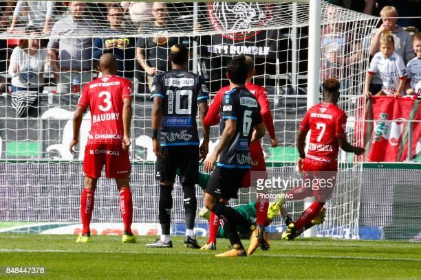 Aaron Leya Iseka forward of SV Zulte Waregem scores and celebrates pictured during the Jupiler Pro League match between Zulte Waregem and Excelsior...
