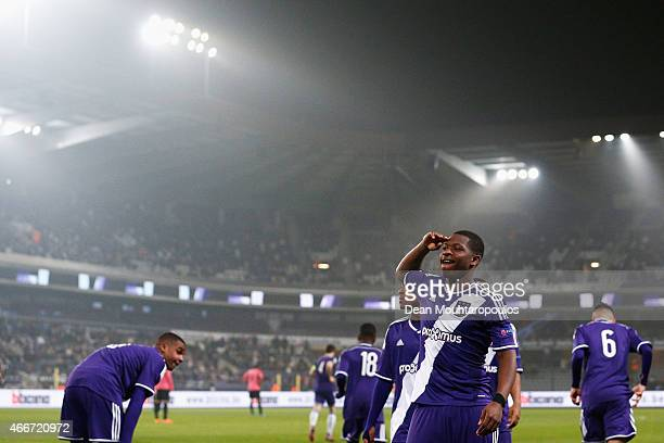Aaron Leya Iseka of Anderlecht celebrates scoring a goal from the penalty spot completing his hat trick during the UEFA Youth League quarter final...