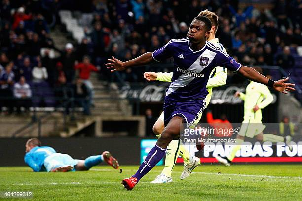 Aaron Leya Iseka of Anderlecht celebrates scoring the first goal of the game during the UEFA Youth League Round of 16 match between RSC Anderlecht...