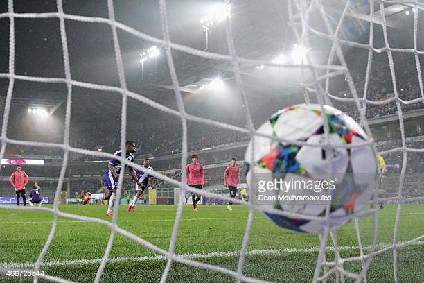 Aaron Leya Iseka of Anderlecht takes and scores a goal from the penalty spot completing his hat trick during the UEFA Youth League quarter final...