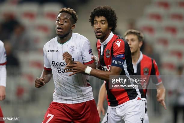 Aaron Leya Iseka of Zulte Waregem Dante of Nice during the UEFA Europa League match between Nice v Zulte Waregem at the Allianz Riviera on November...
