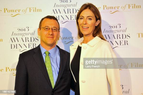 Aaron Lobel left and Kathryn Bigelow attend the 2013 America Abroad Media Awards Dinner at Andrew W Mellon Auditorium on October 28 2013 in...