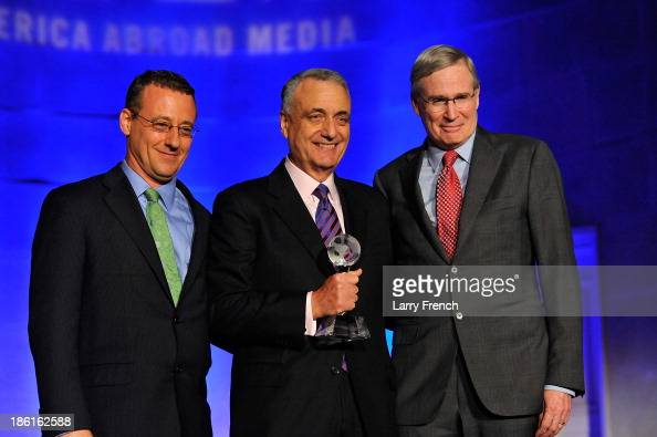 Aaron Lobel Peter Ackerman and Stephen Hadley attend the 2013 America Abroad Media Awards Dinner at Andrew W Mellon Auditorium on October 28 2013 in...