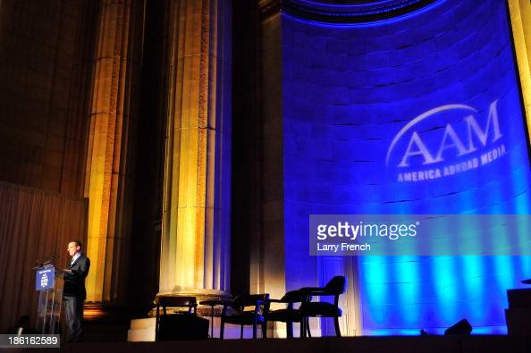 Aaron Lobel speaks at the 2013 America Abroad Media Awards Dinner at Andrew W Mellon Auditorium on October 28 2013 in Washington DC
